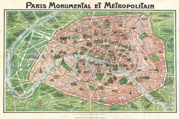 Poster Art nouveau Paris map 1920