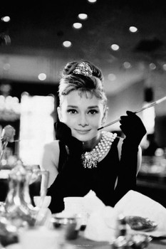 Audrey Hepburn - cigarette (B&W) Poster