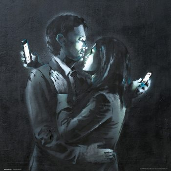 Banksy - Mobile Phone Lovers Close Up Art Print