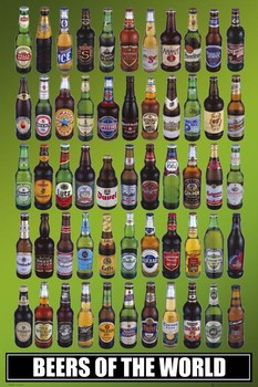 Beers of the world bottles Poster