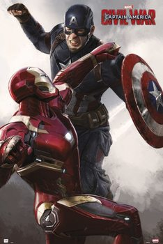 Poster Capitain America Civil War - Cap VS Iron Man