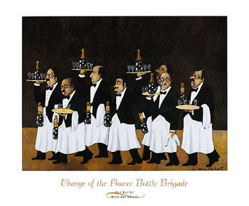 Charge of the Flower Bottle Brigade Art Print