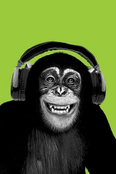 Chimpanzee headphones Poster, Art Print