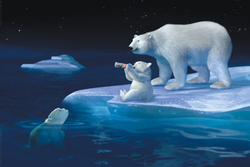 Coca Cola - polar bear swim Poster