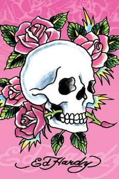 Ed Hardy - pink skull and roses Poster