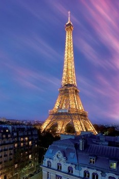 Eiffel tower - at dusk Poster, Art Print