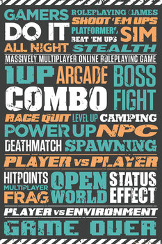 Gaming - Typographic Poster, Art Print