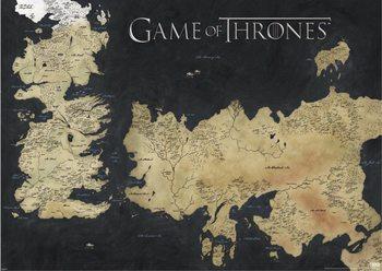 Poster Hra o Trůny (Game of Thrones) - mapa