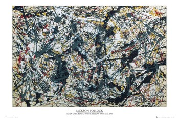 Pôster Jackson Pollock - silver on black