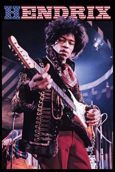 Jimi Hendrix - stars and stripes Poster