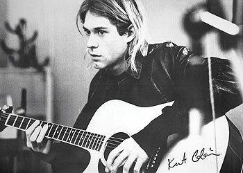 Kurt Cobain - guitar b&w PY Poster