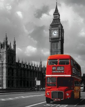 London - red bus Poster, Art Print