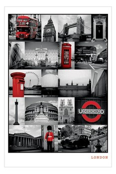 Pôster London - red collage