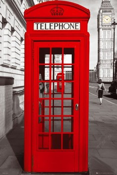 Poster  London - telephone box