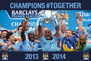 Manchester City FC - Premier League Winners 13/14 Poster