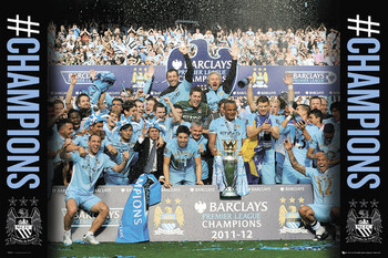 Manchester City - premiership winners 11/12 Poster, Art Print