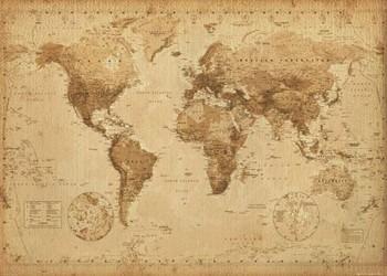 Poster Mapa-múndi Antigo