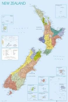 Poster Mapa Político da. Nova Zelândia