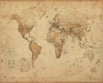 Mapa světa - starý styl Poster