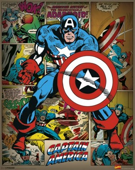 Pôster MARVEL COMICS – captain america retro