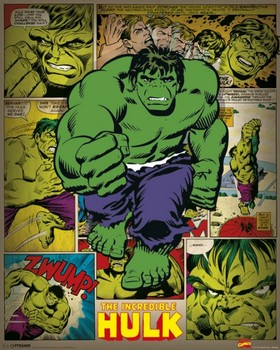 Pôster MARVEL COMICS – incredible hulk retro