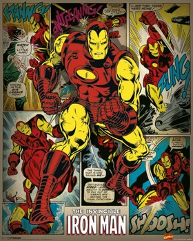 Pôster MARVEL COMICS - iron man retro