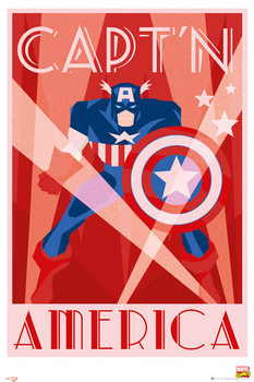 Marvel - Retro Captain America Poster, Art Print
