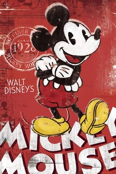 MICKEY MOUSE - red Poster, Art Print