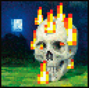 Minecraft - flaming skull Poster
