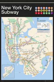 New York - Subway Map Poster, Art Print