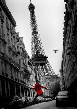 Paris - la veste rouge Poster, Art Print
