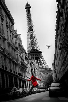 Poster Paříž - la veste rouge