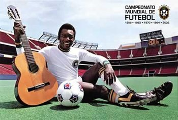 Poster  Pelé - with guitar and football