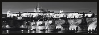 Prague – Prague castle / night b&w Poster
