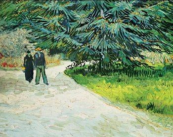 Public Garden with Couple and Blue Fir Tree - The Poet s Garden III, 1888 Art Print