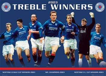 Pôster Rangers - treble winners