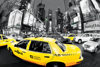 Poster  Rush hour Times square - Yellow cabs