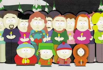 SOUTH PARK - kids in front of group Poster, Art Print
