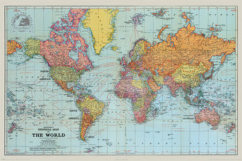 Stanfords General Map Of The World - Colour Poster