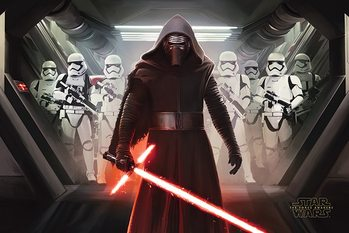 Star Wars Episode VII: The Force Awakens - Kylo Ren & Stormtroopers Poster, Art Print