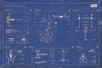 Pôster Star Wars - Rebel Alliance Fleet Blueprint