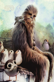 Poster Star Wars: The Last Jedi - Chewbacca & Porgs