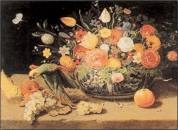 Still Life of Flowers and a Parrot Art Print