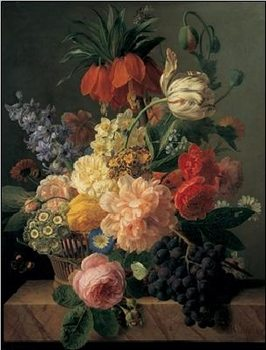 Still Life with Flowers and Fruit, 1827 Art Print