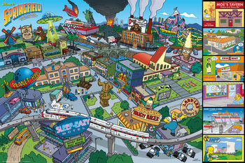 The Simpsons - Locations Poster, Art Print