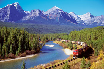 Train in the rockies Poster