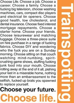 TRAINSPOTTING - choose life Poster, Art Print