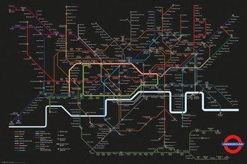 Transport For London - Black Map + UHB Framed Poster