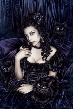 Victoria Frances - black cat Poster, Art Print