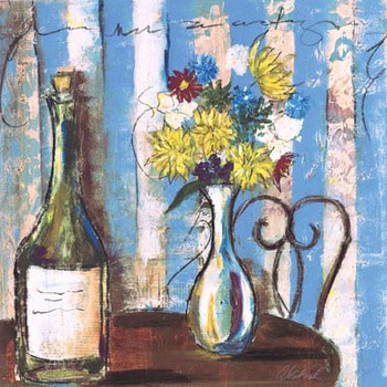 Wine & Flowers I Art Print